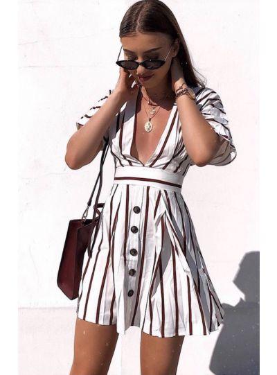 White Red Stripe Deep Neck Dress