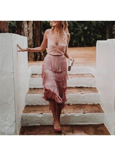Fringe Tiered Cutout Skirt