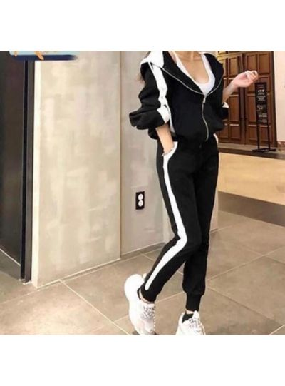 Black Striped Casual Joggers Set