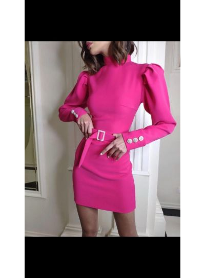 Hot Pink Dress with Belt