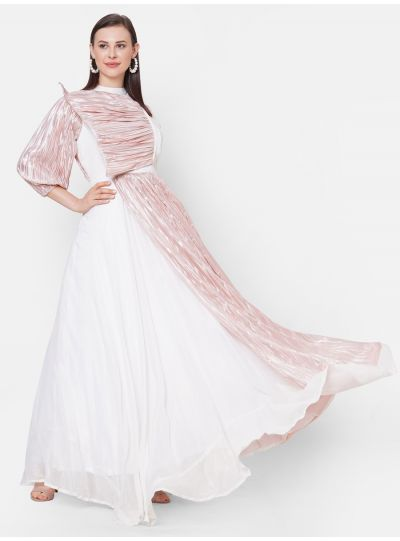 Ivory-Pink Gown with Mask