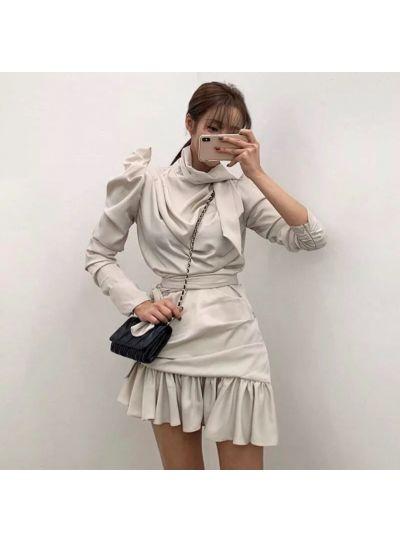 Ivory Dress with Waist Belt