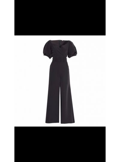 Black Puff Sleeves Jumpsuit with Belt