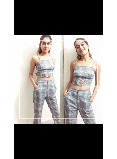 Grey Checks Belted top N pants Set