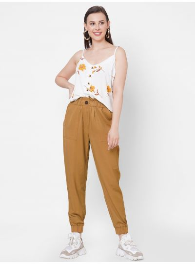 Mustard Joggers with Animal Print Button