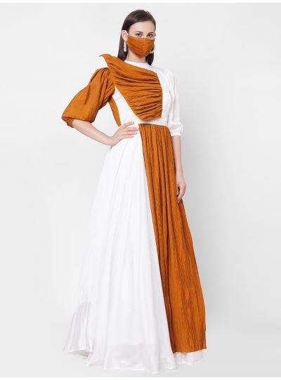 White n Mustard Gown with Mask