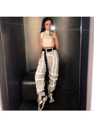 Beige Reflective Stripe Joggers With Attached Belt