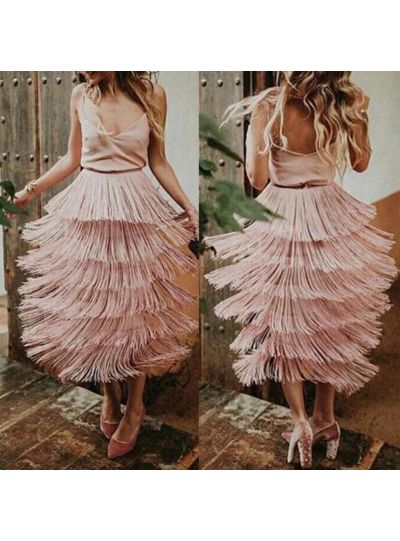 Fringe Tiered Cutout Skirt