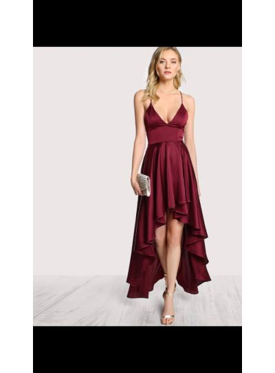 Maroon Backless High Low Dress