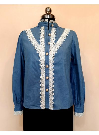 Blue Top with Trim Lace