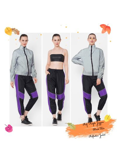Hina Khan Black Joggers ( only stripes are reflective)