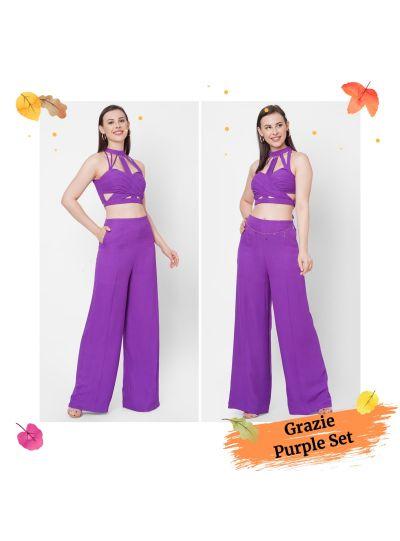 Purple Bustier with Pallazo Resort wear Set