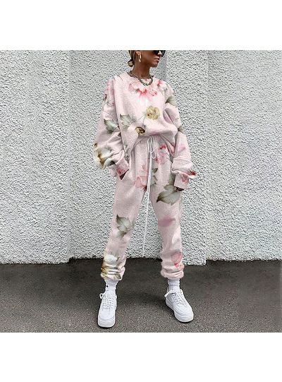 Floral Sweatshirt and Joggers Set