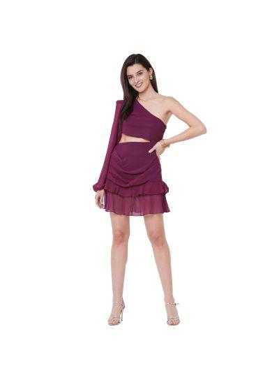 Wine One Shoulder Dress