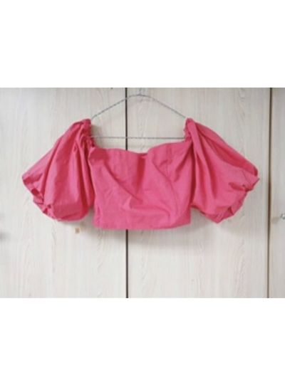 Hot pink Ballon Sleeves Crop