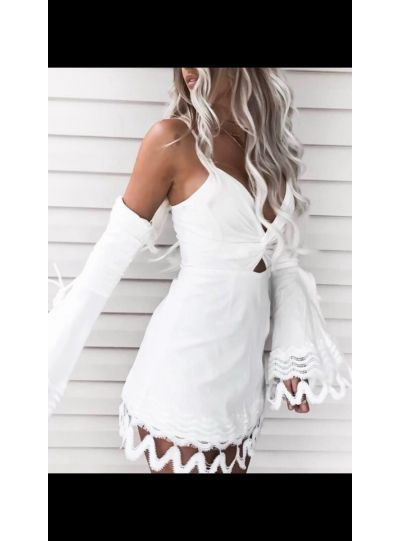 White Beach Dress with Detachble Sleeves