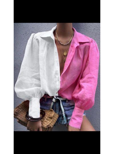 Half Pink Half White shirt