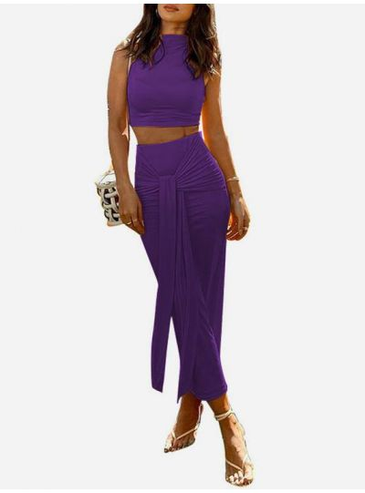 Purple Sleeve Less Knotted Skirt Co ord