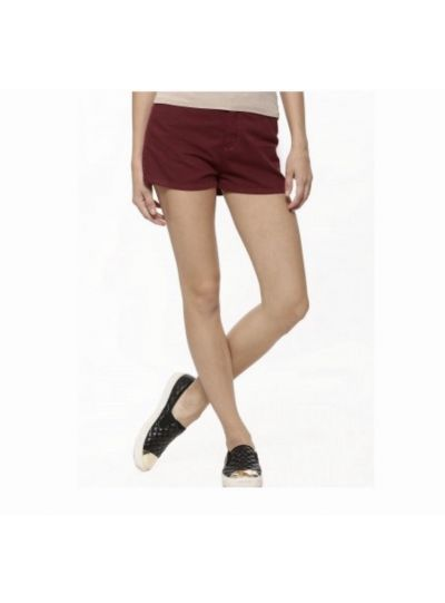 Maroon High Waist Shorts