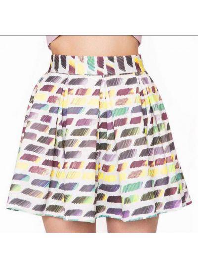 Rainbow High Waist Skirt